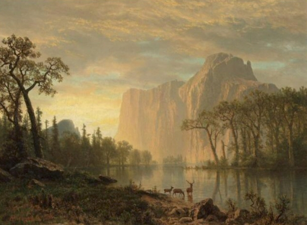 The Great El Capitan in Yosemite National Park as painted by Albert Bierstadt.