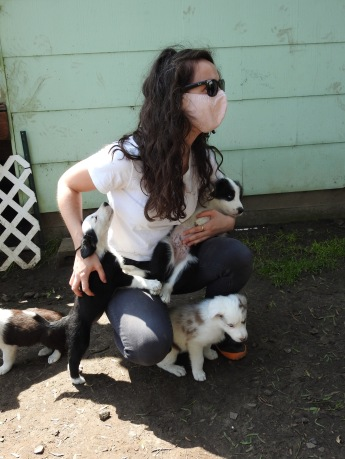 Kaitlin with puppies